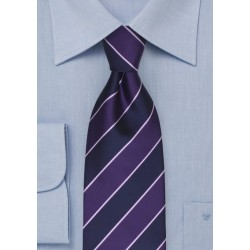 Navy and Grape Purple Striped Tie