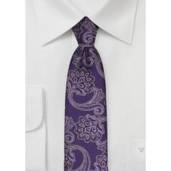 Purple Floral Paisley Skinny Tie