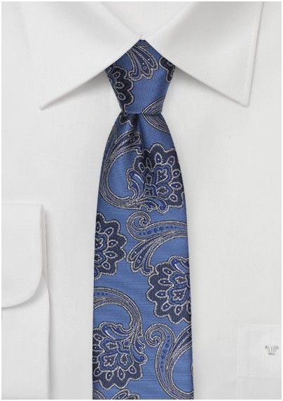 Skinny Paisley Tie in French Blue