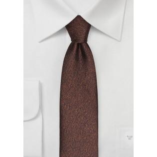 Textured Skinny Tie in Espresso Brown