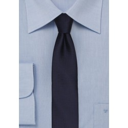 Dark Navy and Brown Micro Check Skinny Tie