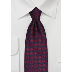 Woven Medallion Pattern Tie in Navy and Red