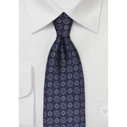 Steel Blue Medallion Pattern Tie