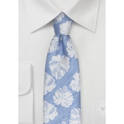 Linen Summer Tie in Ice Blue