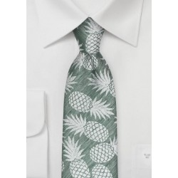 Ivy Green Summer Tie with Pineapple Pattern