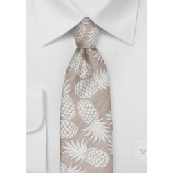 Tan Colored Linen Tie with Pineapple Design