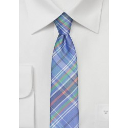 Madras Silk Tie in Sky Blue