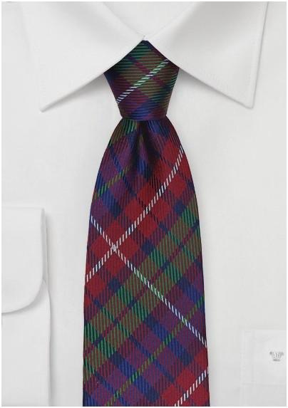 Modern Tartan Plaid Tie in Red, Blue, Green