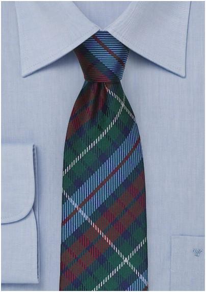 Tartan Plaid Tie in Hunter Green and Light Blue