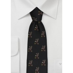 Black Silk Tie with Embroidered Eagles
