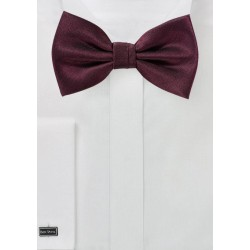 Wine Red Herringbone Bow Tie