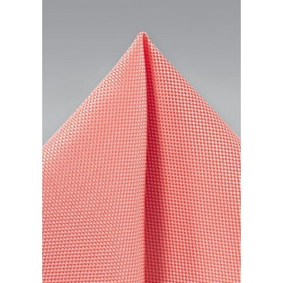 Microtexture Pocket Square in Neon Coral