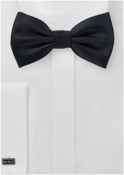 Matte Textured Bow Tie in Black