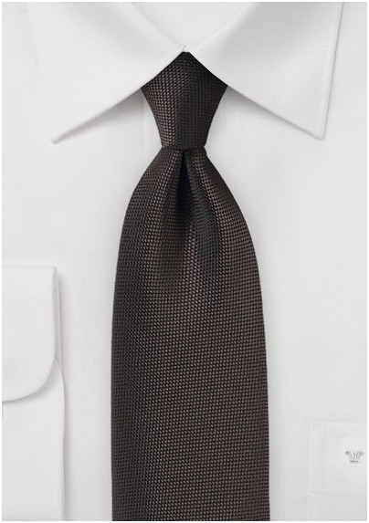 Matte Woven Tie in Dark Brown