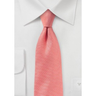 Solid Matte Tie in Neon Coral