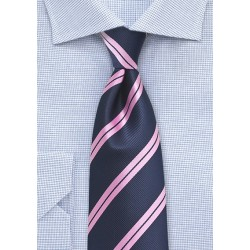Kids Repp Striped Tie in Navy and Pink