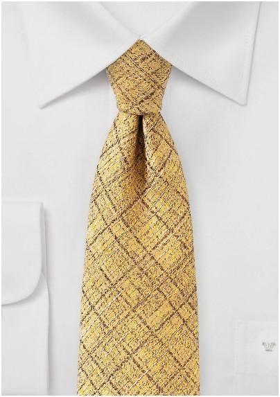 Bright Golden Yellow Shiny Gold Plaid Designer Tie