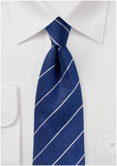 Textured Striped Silk Tie in True Blue