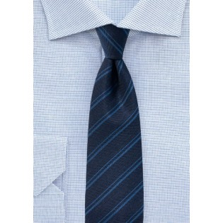 Dark Navy Stripe Tie in Wool Fabric