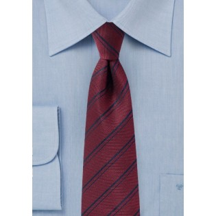 Maroon Striped Tie in Matte Finish