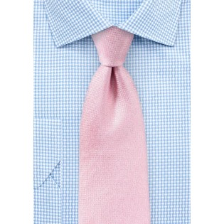 Peony Pink Matte Woven Silk Tie