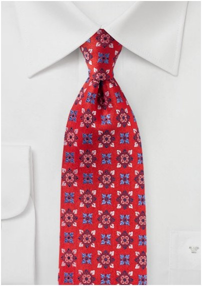 Bright Red Medallion Design Silk Tie