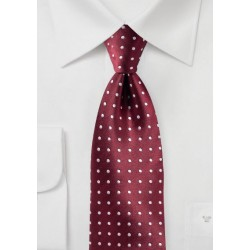 Maroon and Silver Polka Dot Tie