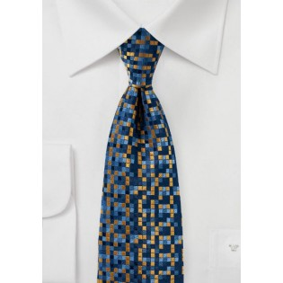Patchwork Check Tie in Blue and Gold
