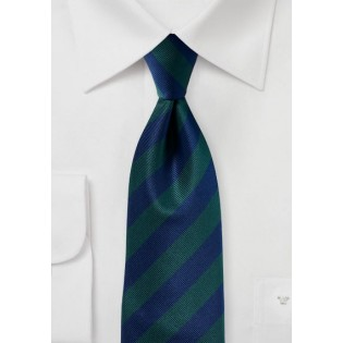 Navy and Hunter Green Repp Tie