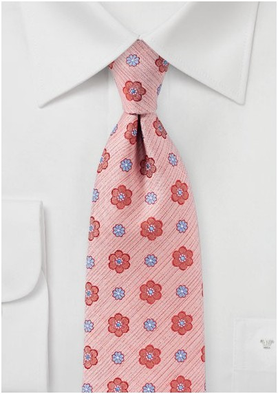 Peach Blossom Pink Floral Tie