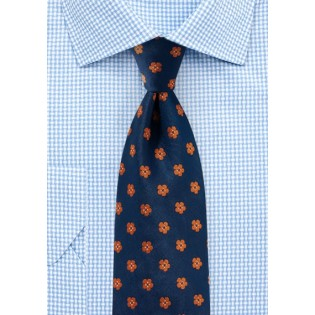 Floral Tie in Navy and Orange
