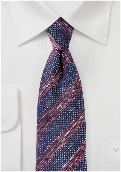 Dark Purple Striped Tie in Recycled Yarns