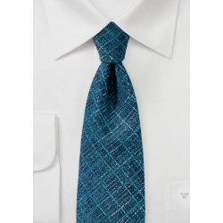 Teal Blue Textured Plaid Tie
