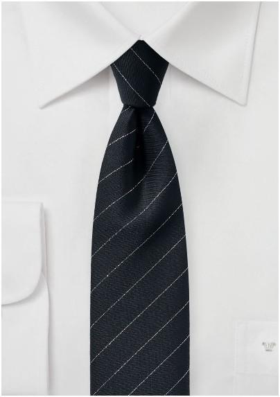 Trendy Designer Skinny Tie in Black and Metallic Silver
