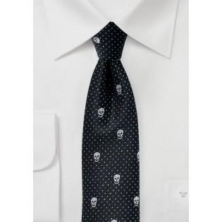 Black Skinny Tie with Metallic Skull Design