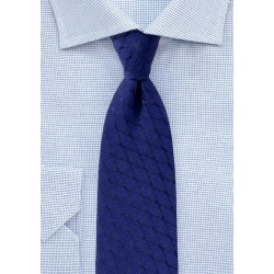 Royal Blue Wool Blend Tie with Rhombus Pattern