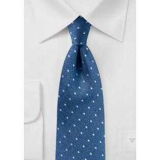 Matte Woven Silk Polka Dot Tie in Blue