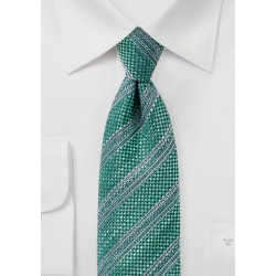 Dark Green Textured Striped Tie