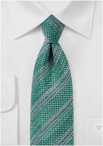 Dark Green Textured Striped Tie