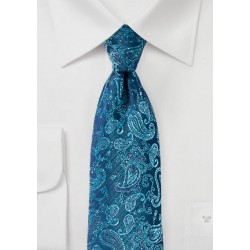 Teal and Aqua Paisley Designer Necktie