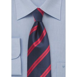 Navy and Red Striped Kids Necktie