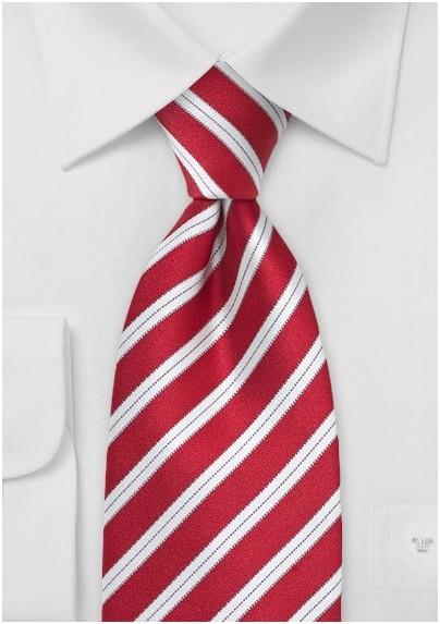 Handmade Striped Silk Tie in Bright Red in XL Length