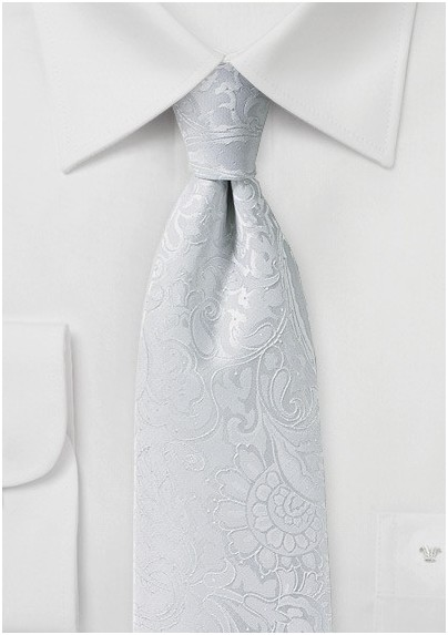 Bright White Mens Tie with Paisley Pattern in XL