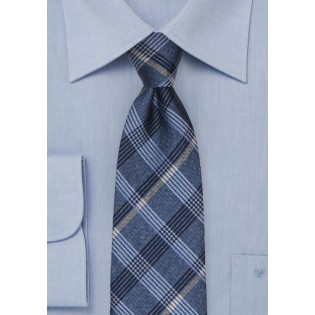 Plaid Tie in French Blue