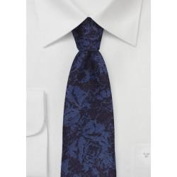 Floral Skinny Wool Tie in Navy