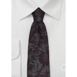 Gray Skinny Tie Burgundy Florals