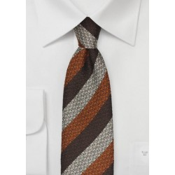 Striped Wool Tie in Brown, Copper, Silver
