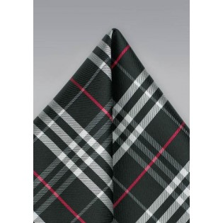 Tartan Plaid Pocket Square in Black and Silver