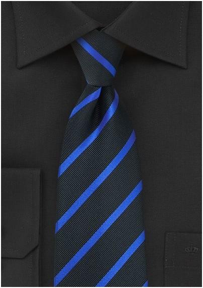 532e9716046d Black Kids Tie with Bright Blue Stripe Design