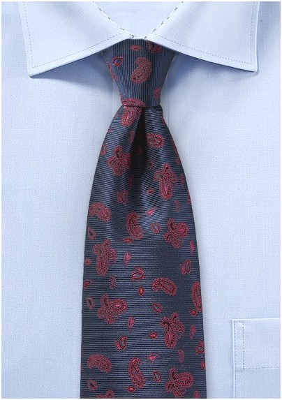 Navy Kids Tie with Red Paisley Design